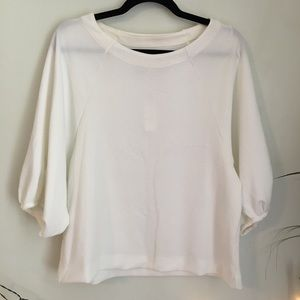NWT Anthropologie White Knit Full 3/4 Sleeves Top